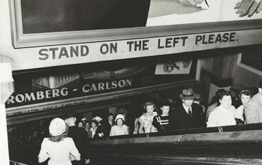 Rail commuters on the escalators at Wynyard Railway Station February 1948